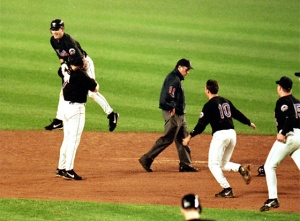 Todd Pratt cut off Robin Ventura off as he attempted to round the bases in what has become known as The grand-single""