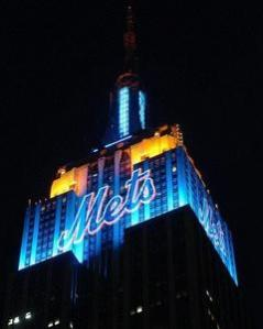 The Empire State building was lit blue and orange last night in honor of the Mets win in game 1 of the Subway Series