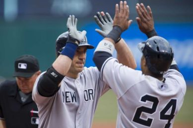 Hafner is greeted by Cano (Photo Courtesy of Newsday)