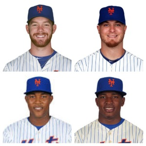 "Vic Black (Upper left), Josh Edgin (Upper right), Jeurys Familar (bottom left) and Jenry Mejia(Bottom right) give the Mets a ""core four"" in their bullpen to build around"