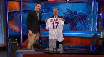 "Harvey presented Stewart with a Mets jersey with #17 ij honor of 17 seasons of hosting ""The Daily Show"""