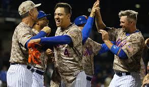 The Mets celebrate last night's walk-off win
